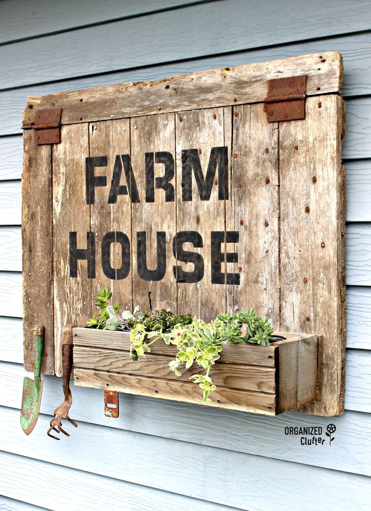 FARMHOUSE planter box and garden tool hanger, by Organized Clutter, featured on Funky Junk Interiors, made with Funky Junk's Old Sign Stencils