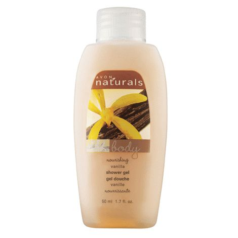 AVON NATURALS MINI MOISTURIZING SHOWER GEL Cleansing gel leaves you silky smooth and lightly scented all over. Naturals Vanilla Shower Gel Mini is great for traveling. Pack one so you never have to use boring, drying hotel soap! #avon #showergel #travel