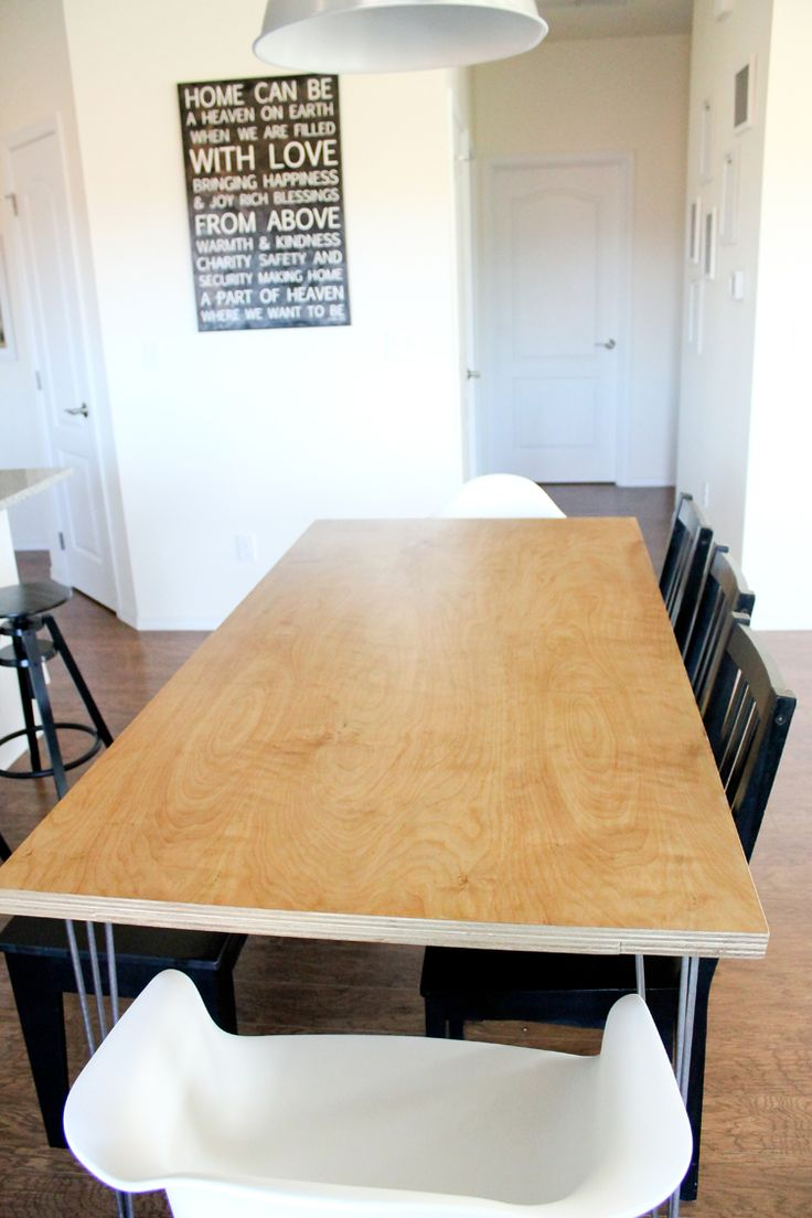 Best 25 plywood table ideas on pinterest plywood for Plywood table hairpin legs