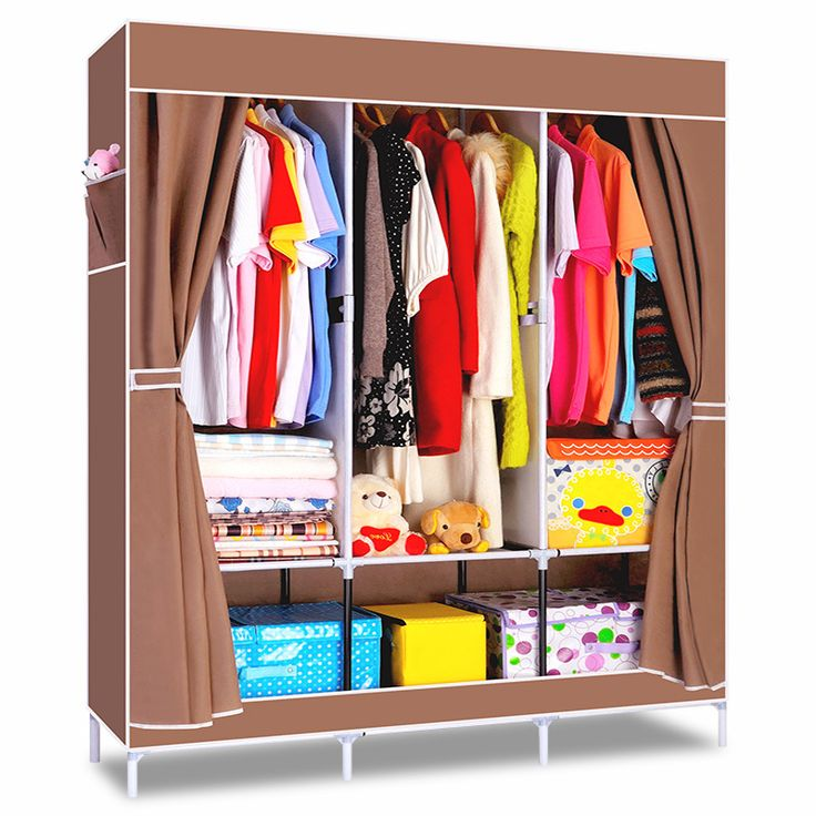 House Scenery Non Woven Folding Fabric Wardrobe Storage Metal Portable Closet Clothes Bedroom