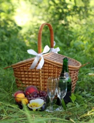 "Hi Ladies! Let's have a ""Romantic Picnic!"" Pretty baskets, gourmet foods, wine, china, napkins, candlesticks, blankets, hats & flowers!!! Ahhh..."