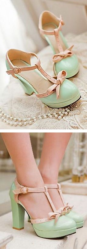 Mint Bow Retro Heels ღ