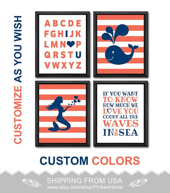 navy and coral nautical girl room decor mermaid nursery decor count the waves I love you alphabet nautical abc I love you girls nursery art