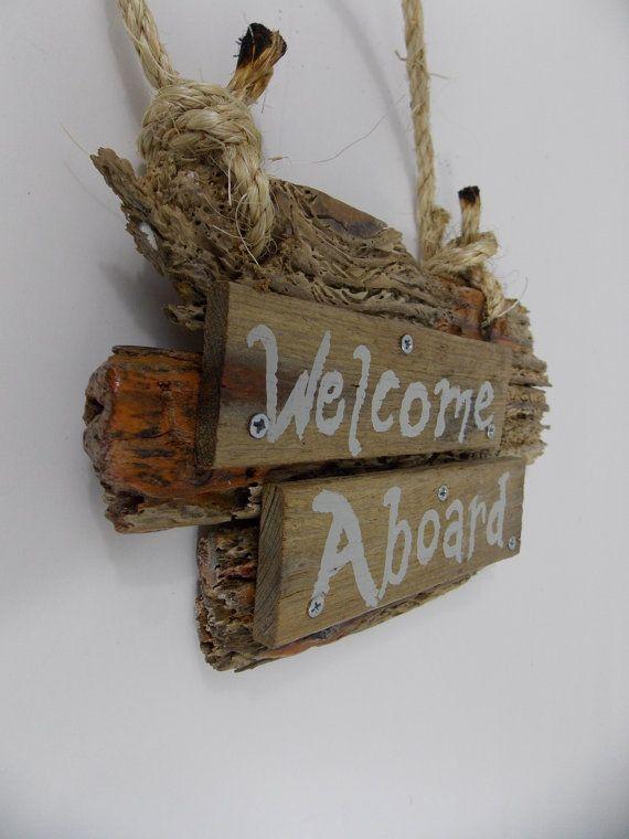 WELCOME ABOARD Crab Trap Sign Nautical Decor by WaywardWoodshop