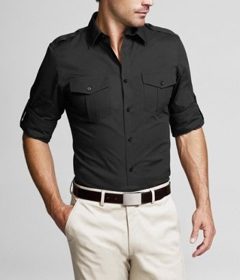 black MK2 fitted shirt with cream pants