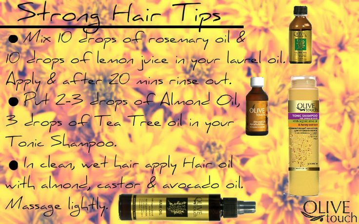 Tips for strong, healthy hair. Against hair loss. Traditional recipes combined with our organic products #olivetouch #hair #hairloss #beautytips #hairoil #shampoo #laureloil #almondoil #rosemaryoil #teatreeoil
