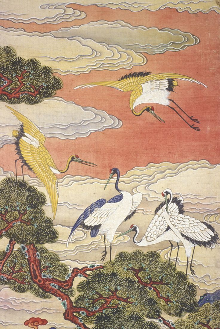 "chasingtailfeathers: "" The Ten Symbols of Longevity (detail), Korean, Joseon period, c. 1881. Ten-panel folding screen, ink and color on silk. Murray Warner Collection of Oriental Art. """