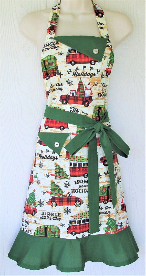 Vintage Style Christmas Apron Retro Cars Christmas Plaid