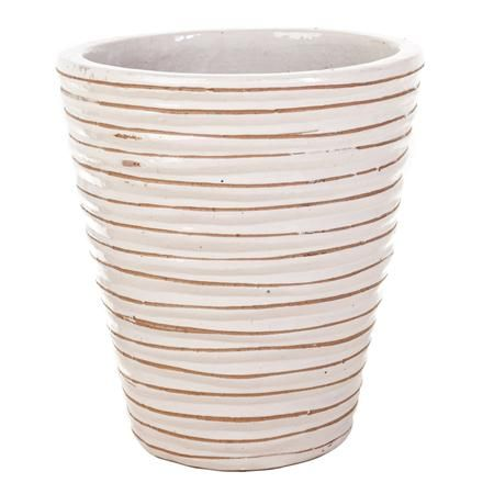 The Round Ruffle Planters in Antique White are the perfect complement to your patio or landscape. These sturdy planters are 100% hand made by expert artisans and craftsman. Designed to last a lifetime, the planters are carefully molded for optimum strength and artistically finished in a beautiful Antique White. Each set includes three Round Ruffle Planters, each a different size. Please see below for sizes.