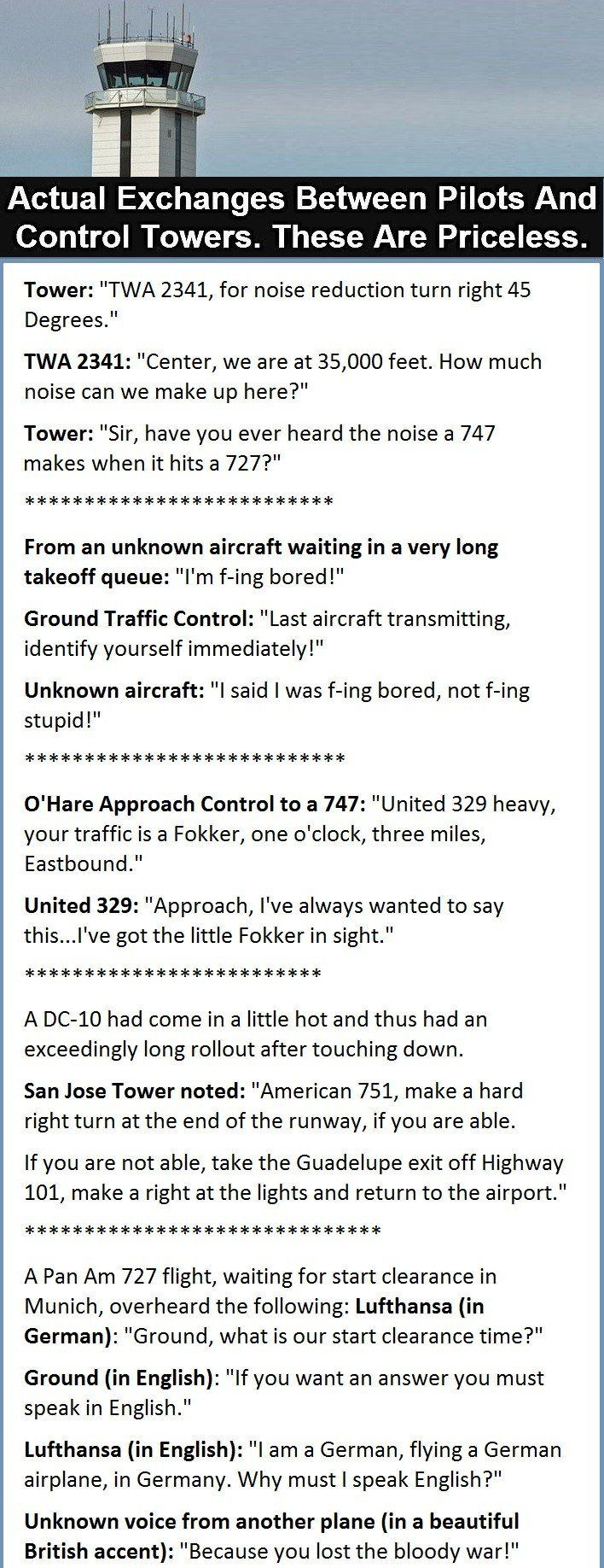 Radio exchanges between pilots and control towers