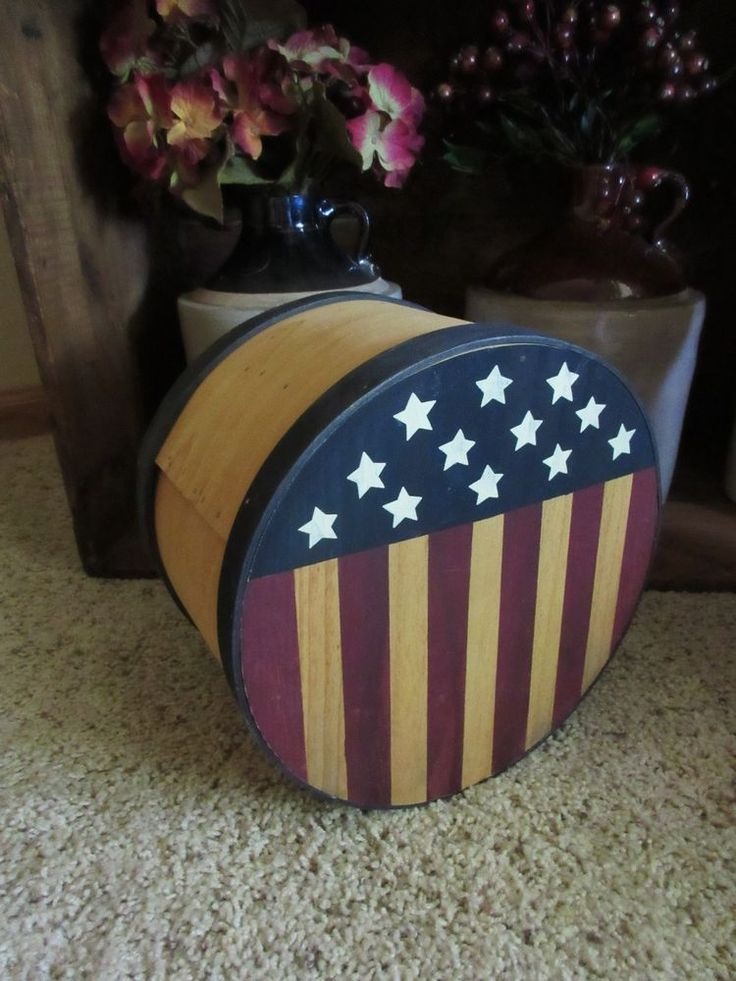 "VTG Large Round Wood Cheese Box Pantry Wood Box AMERICANA 9"" Diameter #Country #Antique"