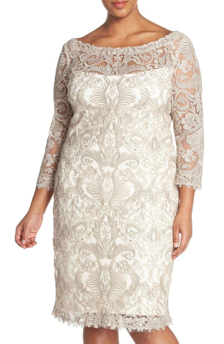 TadashiShojiCorded Lace Tulle Sheath Dress (Plus Size)
