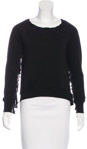 Pam & Gela Fringe-Accented Raglan Sweatshirt