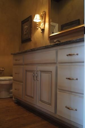 Image Of Bathroom vanity refinished to an Off White glazed finish Walls refinished to an Old