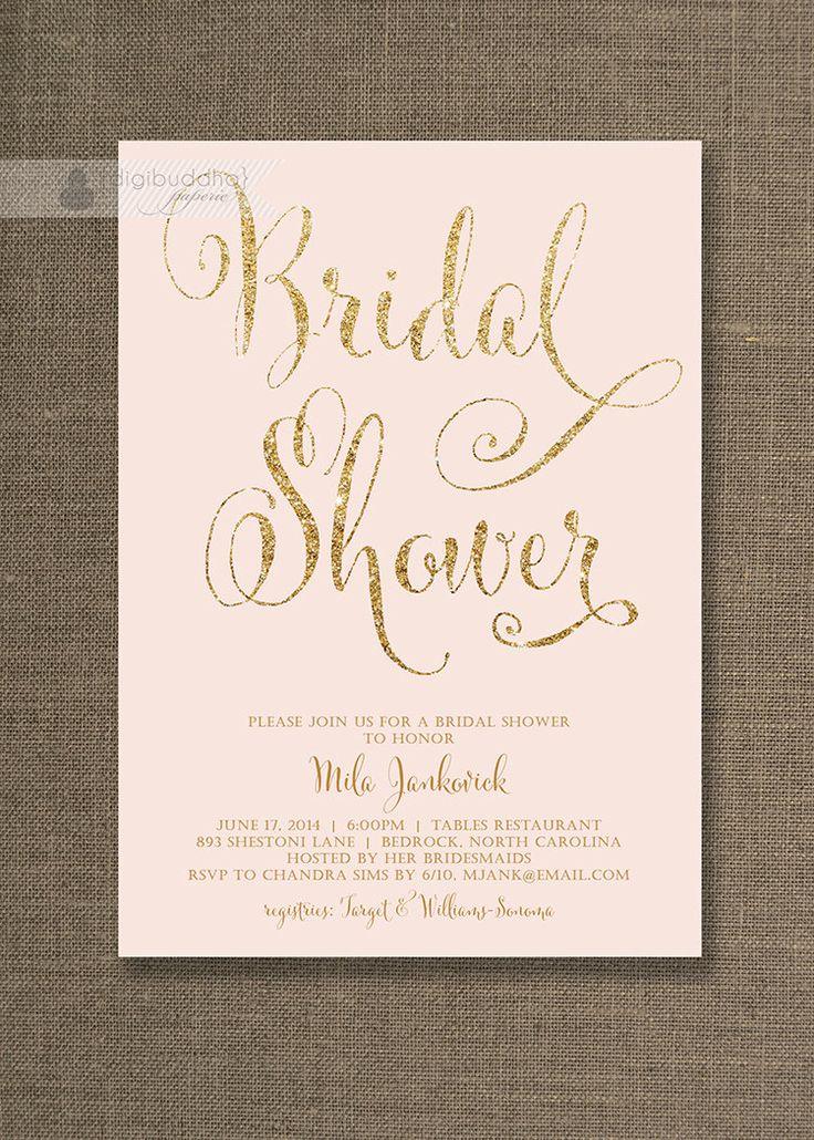 Blush Pink u0026 Gold Bridal Shower Invitation