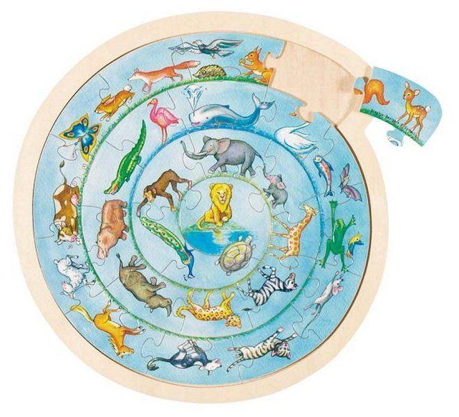 27 db-os állat figurás kirakó játék, kör alakú keretben. Átmérője: 30,7 cm.