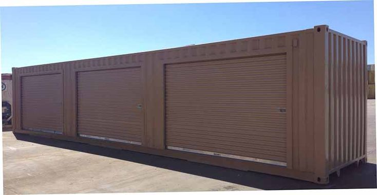 By adding multiple roll up doors, a shipping container can be transformed into a multi-purpose on-site mini storage unit.  The mini storage containers can