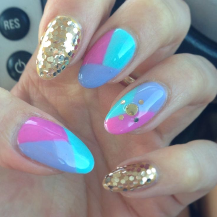 Pastel and gold #acylic #nails #multicolor #pastel #glitter