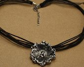 Large Silver Flower Pendant on Black Organza Necklace