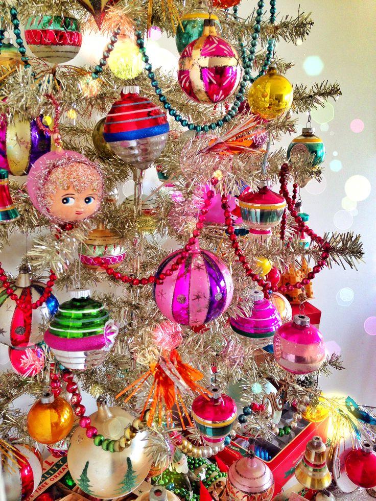 My tinsel tree decorated w/shiny Brite's, Vtg German, My handmade Doll bulbs from Lisa Kettell Designs Line, mercury glass, tinsel picks and Vtg love!