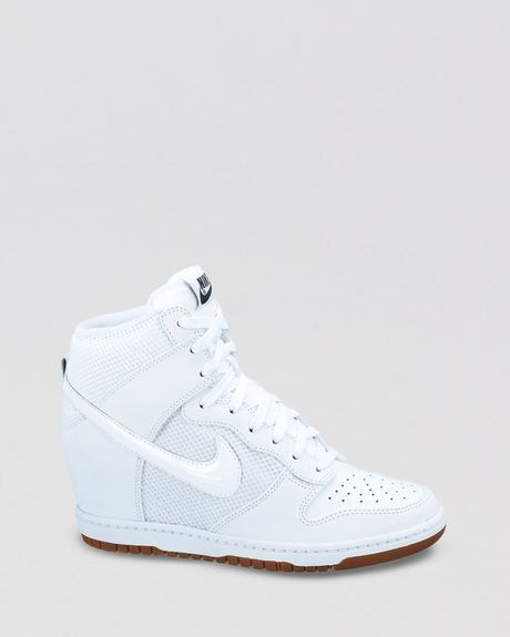 db677d4ce10b4 White Lace Up High Top Sneaker Wedges Womens Dunk Sky Hi Mesh