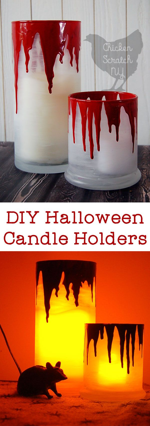 Halloween Candle Holders, Bleeding Candle Holder, Halloween DIY, Halloween Decoration