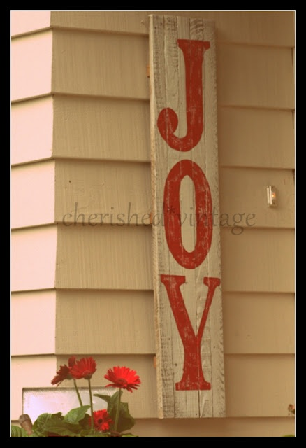 Reclaimed Wood Hand Painted Joy Sign Cherished Vintage