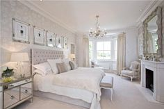 Light, calm neutrals, white, gray, refined, glamour bedroom