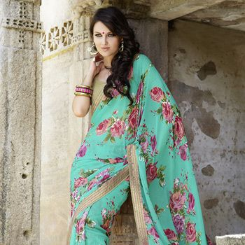 #saree #floral #turquoise Sea Green Faux Chiffon Saree With Blouse