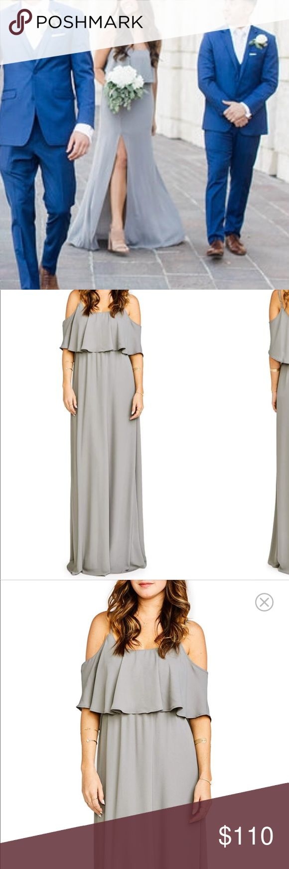 Show Me Your Mumu Caitlin Cold Shoulder Dress Show Me Your Mumu Caitlin Chiffon Maxi Dress in Soft Charcoal. This gorgeous gown/maxi dress was only worn once as a bridesmaid dress. I had a slit put over the right leg and the skirt lining cut from maxi length to skater skirt length, starting right above the slit. You're welcome 🤗 This adjustment is modeled after all the Show Me Your Mumu maxi dresses that come with a slit. The lining and slit dimensions are the same. Your arms can be worn…