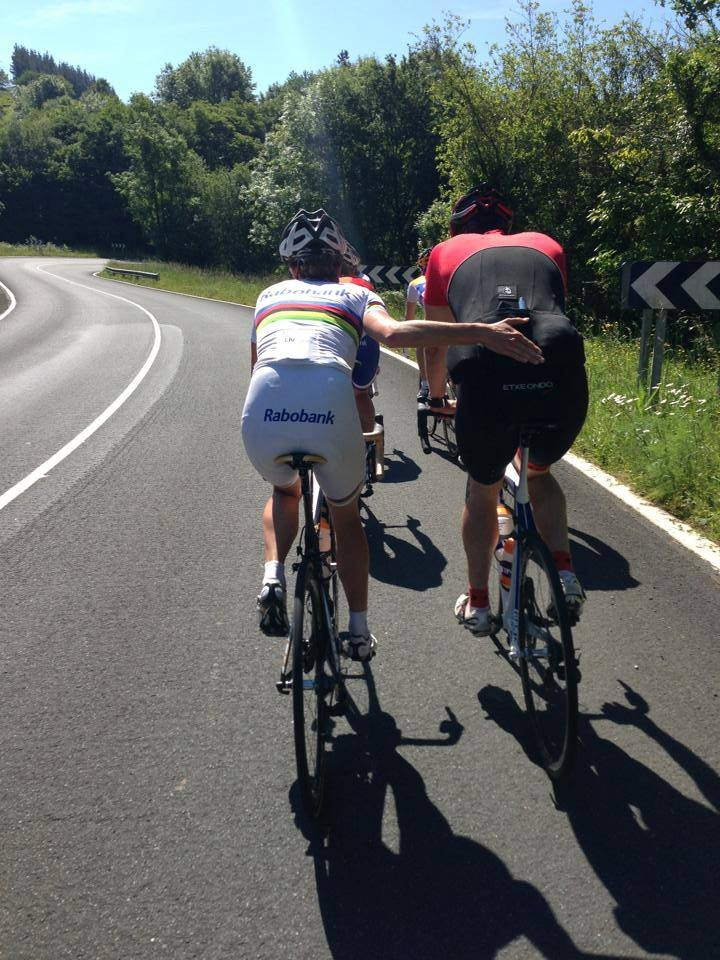 Marianne Vos pushing her brother on the rabo pre race training ride. Shows you just how strong they are, even on their rest days