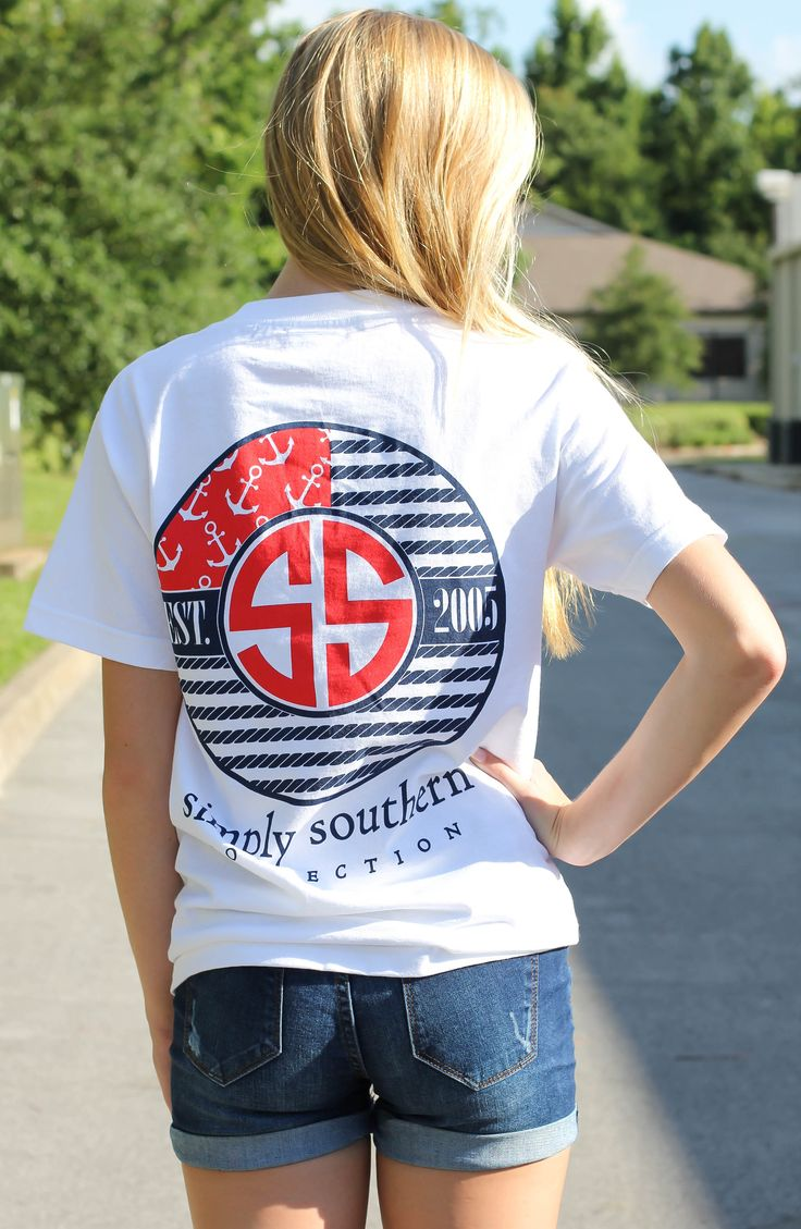 "Simply Southern is a preppy T-shirt collection. This nautical flag screen print features ""SS, Founded 2005"". Model is 5'9"" wearing a small 100% Cotton PRESHRUNK Unisex tee. Runs big. Body Width:..."
