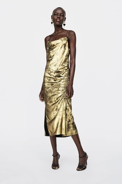 b7cfa681 Image 1 of METALLIC-EFFECT CAMISOLE DRESS from Zara Gold Dress Outfits, Nye  Outfits