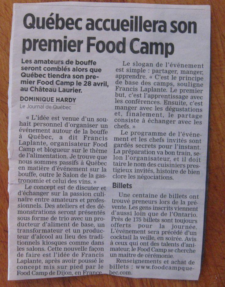 Le journal de Québec qui parle de l'arrivée du premier FoodCamp