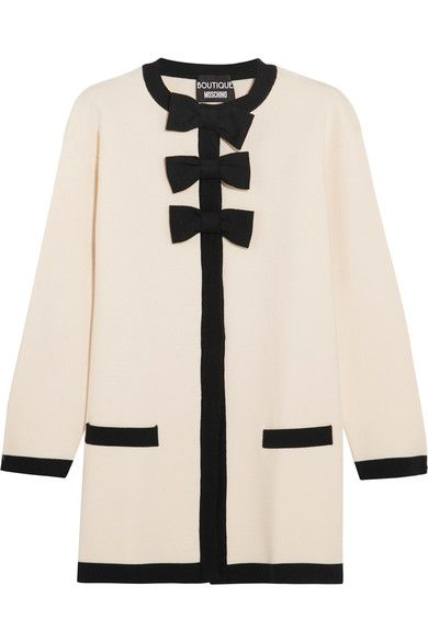 Boutique Moschino - Bow-embellished Wool And Cotton-blend Jacket - White - IT