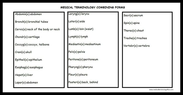 Medical Terminology Combining Forms And Combining Vowel