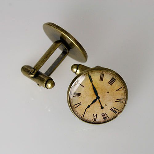 Mens Cufflinks - vintage clockface, by urbanrose,