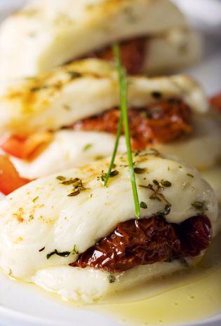 Mediterranean Living| Serafini Amelia|  Baked Cyprus Haloumi Cheese with sundried tomato, oregano  chives