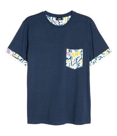 T-shirt   Dark blue   Men   H&M AU