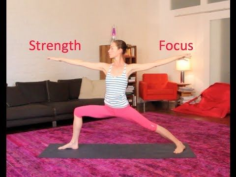 """Yoga for Strength & Focus"" by Tara Stiles--- She teaches strala yoga, which is about movement, not holding poses. I really like how causal she is about yoga. She is reminding you to move however is comfortable for your body. She speaks in a bit of a monotone voice, which by the end of the video leaves me feeling quite calm and relaxed. Ahh :)"