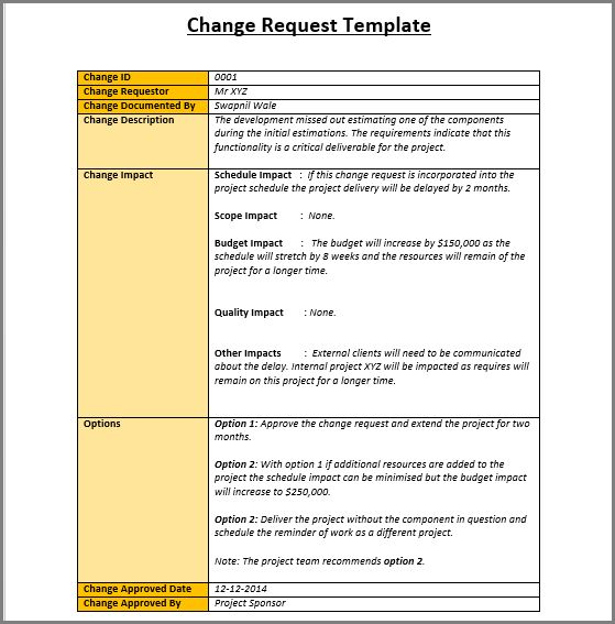 Sample Change Request Template | Project Management Templates