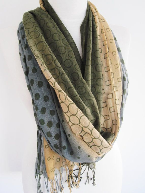 Cotton Patterned Long Scarf Blue Grey Beige by mediterraneanlights