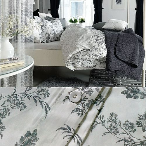 IKEA Alvine Kvist Duvet Cover...french country floral in black and white,