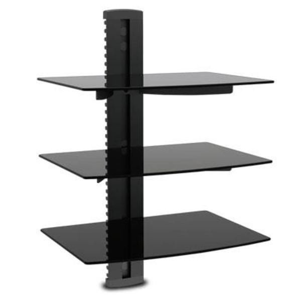 Wall Mount Shelf Cable DVD Rack 3 Tier Component Holder Game Console Organizer #Modern
