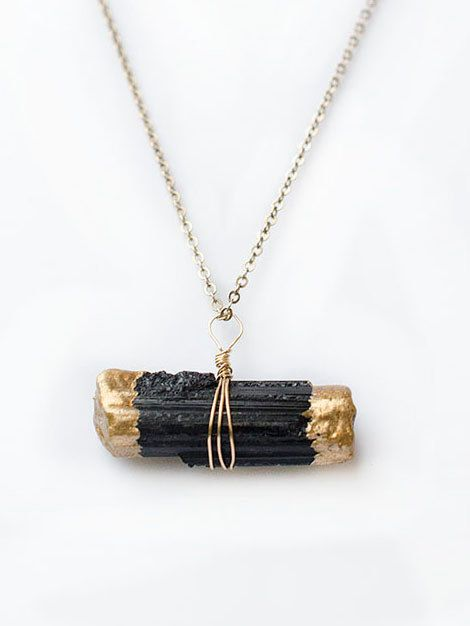 Black Tourmaline Necklace Raw Tourmaline Pendant by AnaberJewelry €18.50