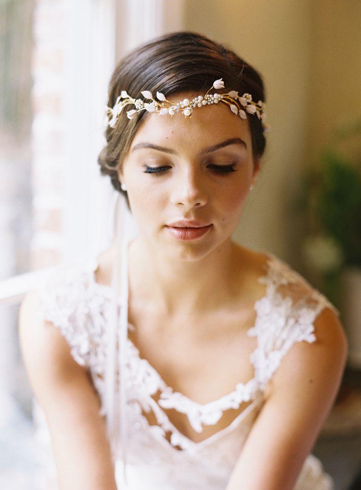 Wedding Dress: Claire Pettibone 'Adagio', Bridal Headpiece & Veil: Erica Elizabeth Designs photo by Caroline Tran