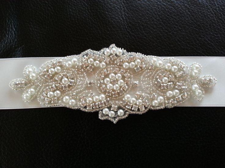 Brautgürtel,Bridal Sash,ivory,strass,Satingürtel von marias-design auf DaWanda.com