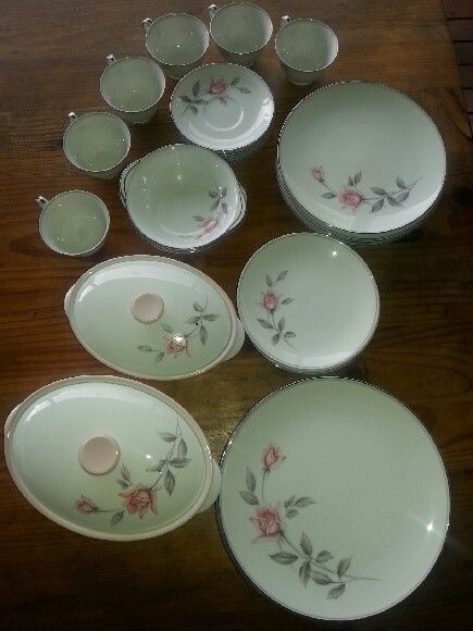 Vintage Noritake Rosemarie Dinner Set. The Rosemarie pattern was produced from 1959 to 1975 and has been discontinued
