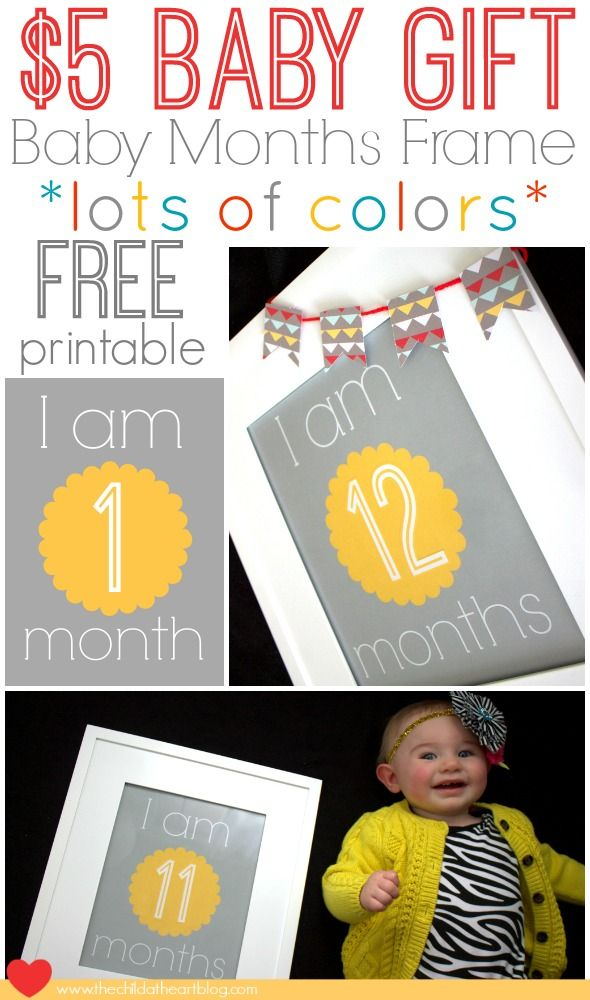 Free Yellow and Gray Free Baby Monthly Printables and Gift Idea