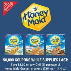 $1/1 Nabisco Honey Maid Graham Crackers Coupon (First 50,000) on http://www.icravefreebies.com/